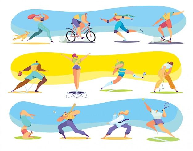 Diferentes tipos de deporte, personajes de dibujos animados de personas, ilustración