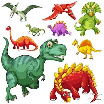 Diferentes tipos de dinosaurios ilustración