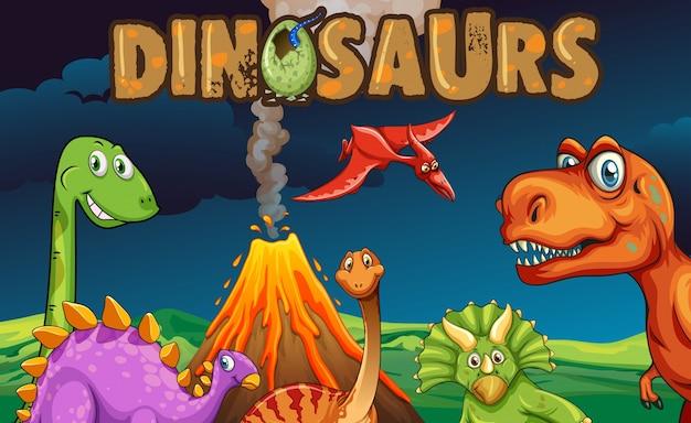 Diferentes tipos de dinosaurios en la noche