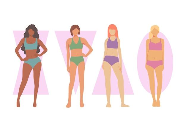Diferentes tipos de formas del cuerpo femenino.