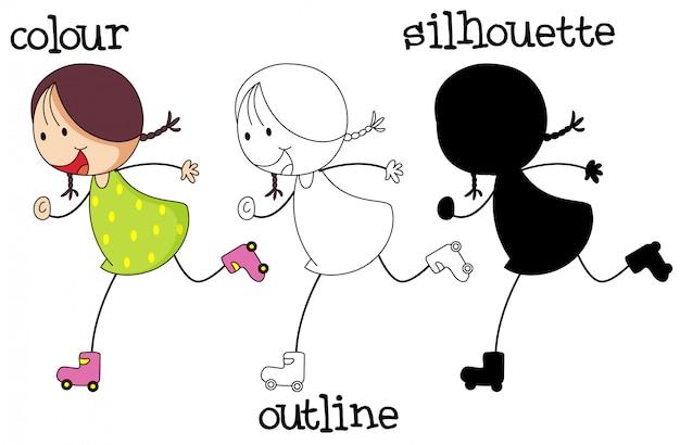 Diferentes tipos de gráficos de patinaje de niña.