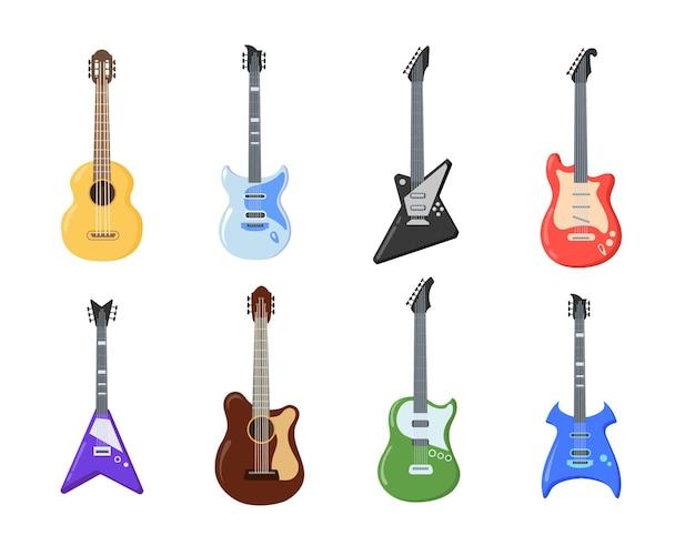 Diferentes tipos de ilustración de guitarras.