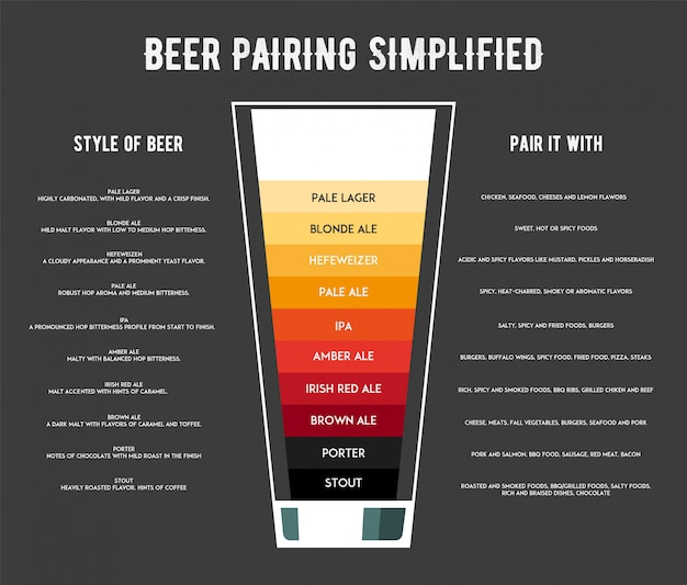 Diferentes tipos de infografía de cerveza.