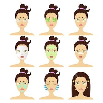 Diferentes tipos de mascarillas cosméticas faciales. concepto de belleza y cuidado de la piel.