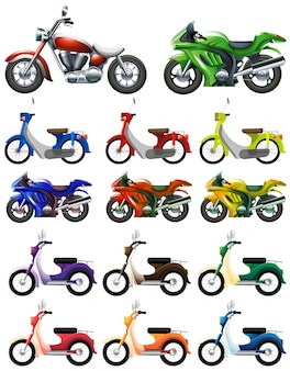Diferentes, tipos, motocycles, ilustración