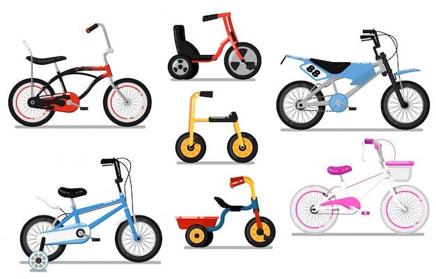 Diferentes tipos niños bicicleta conjunto de vectores aislados