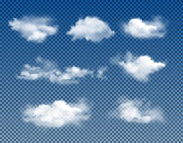 Diferentes tipos de nubes realistas conjunto de vector realista aislado sobre fondo transparente