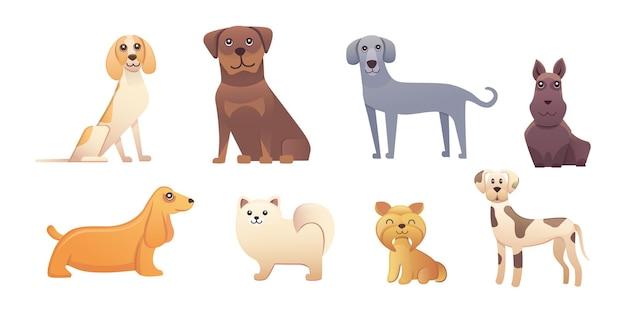 Diferentes tipos de perros de dibujos animados. ilustración de conjunto de perro feliz.