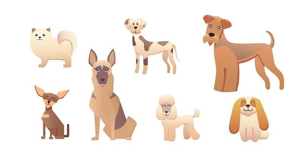 Diferentes tipos de perros de dibujos animados. perro feliz establece ilustración vectorial.