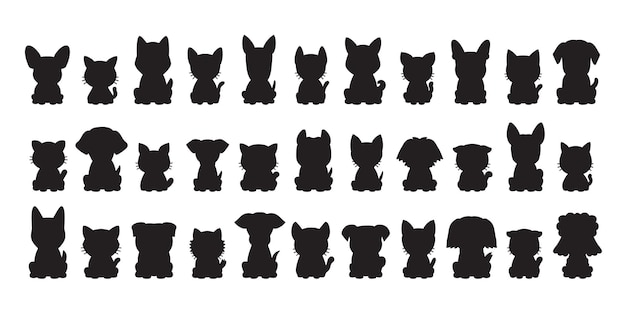 Diferentes tipos de perros y gatos de silueta vectorial para el diseño.