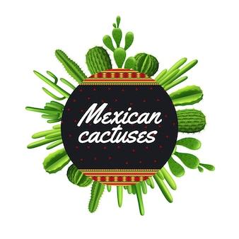 Diferentes tipos de plantas de cactus mexicanos en forma de círculo