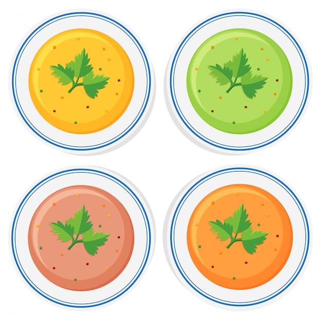 Diferentes tipos de sopa en cuencos.