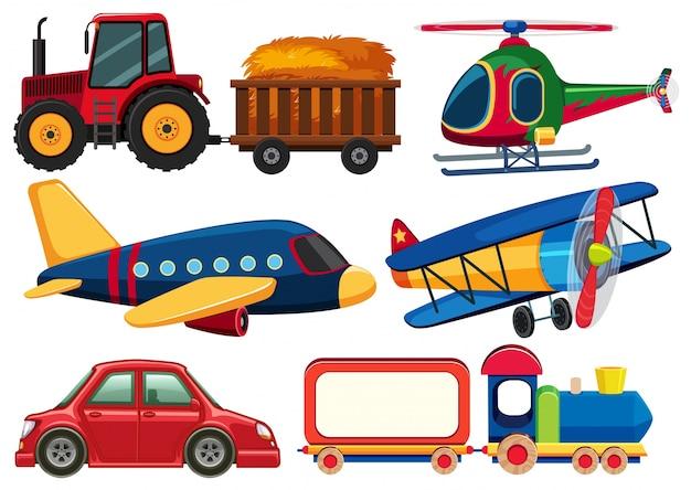 Diferentes tipos de transportes en el fondo blanco