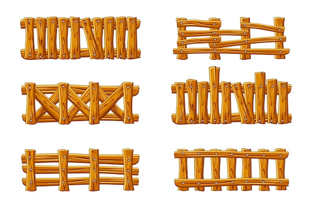 Diferentes tipos de valla de madera, dibujos animados