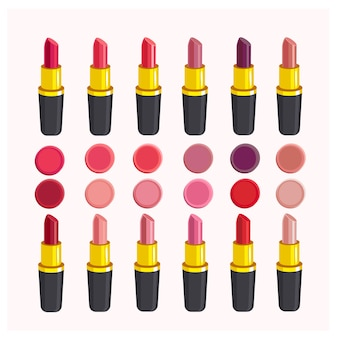 Diferentes tonos de lápiz labial, lápiz labial. ilustración aislada en blanco. conjunto de pintalabios