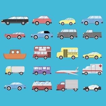 Diferentes transportes sobre un fondo azul