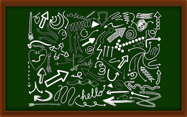 Diferentes trazos de doodle en una pizarra