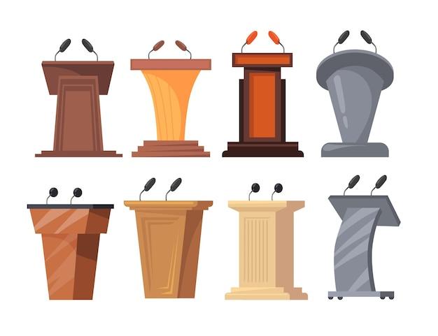 Diferentes tribunas con ilustración de micrófonos.