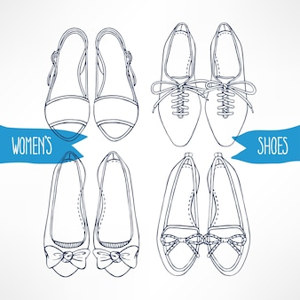 Con diferentes zapatos de dibujo sobre un fondo blanco.