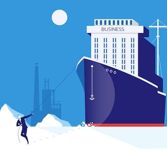 Dificultades comerciales, concepto de liderazgo ilustración vectorial en estilo plano
