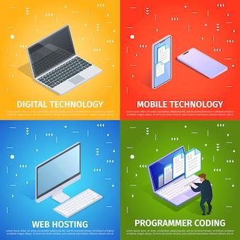 Digital, tecnología móvil, alojamiento web y codificación.