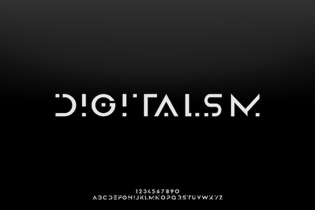 Digitalismo, una fuente abstracta alfabeto futurista con tema de tecnología. diseño moderno de tipografía minimalista