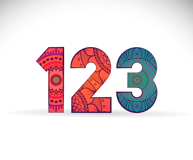 Digitos 123 con diseño de mandala