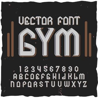 Dígitos y letras de elementos de fuente de gimnasio con ilustración de etiqueta de texto