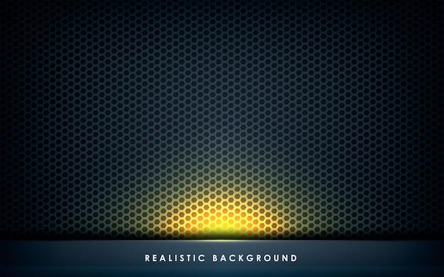 Dimensión de la capa abstracta gris con luz dorada