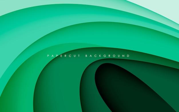 Dimensión de gradiente de fondo de papercut verde moderno
