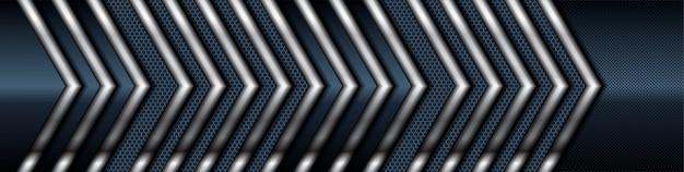 Dimensión de la lista de plata sobre fondo de textura negra. textura realista de capas superpuestas oscuras con decoración de elementos de luz plateada