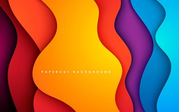 Dimensión ondulada de fondo colorido papercut