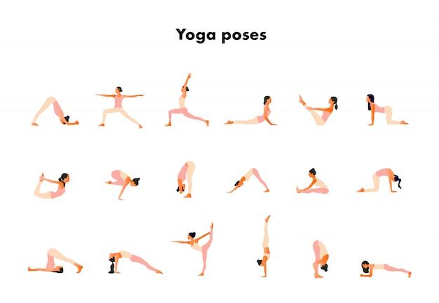 Diminutas mujeres realizando posturas de yoga. mujeres practicando asanas