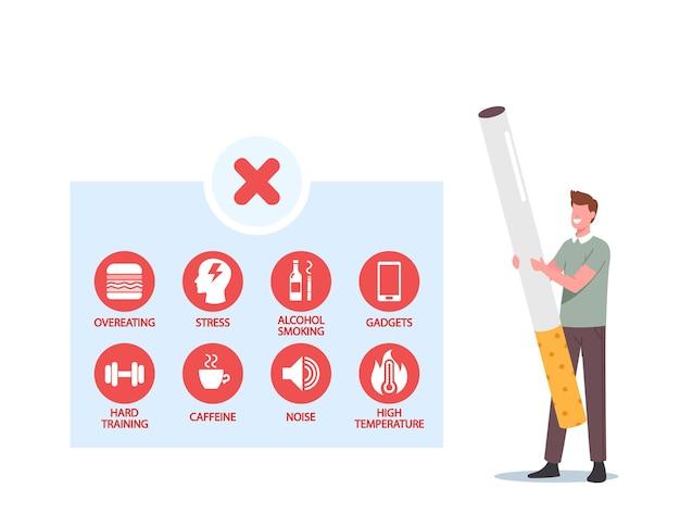 Diminuto personaje masculino con enorme cigarrillo e infografías comer en exceso, alcohol, fumar, gadget, entrenamiento duro, cafeína