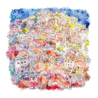 Dimitsana grecia acuarela dibujo dibujado a mano ilustración