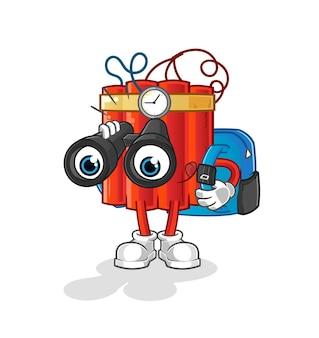 Dinamita con carácter de binoculares. vector de mascota de dibujos animados