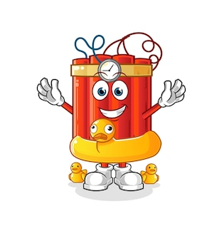 Dinamita con dibujos animados de boya de pato. vector de mascota de dibujos animados