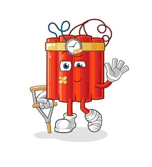 Dinamita enfermo con vara cojeando. vector de mascota de dibujos animados