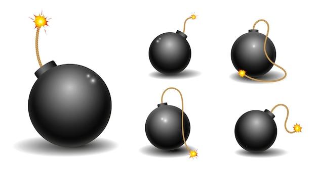 Dinamita realista con mecha encendida o petardos de bomba realistas o fuegos artificiales de bomba roja