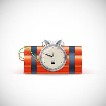 Dinamita con reloj. bomba de tiempo