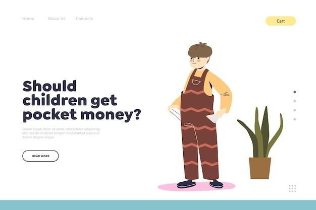 Dinero de bolsillo para el concepto de niños