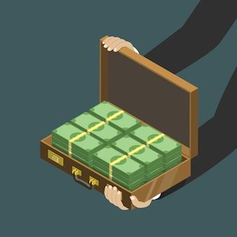 Dinero en el concepto isométrico plano de maleta