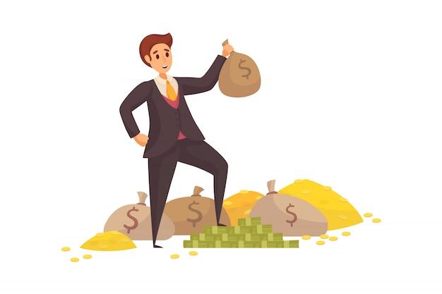 Dinero, éxito, capital, ganancias, riqueza, concepto de negocio.