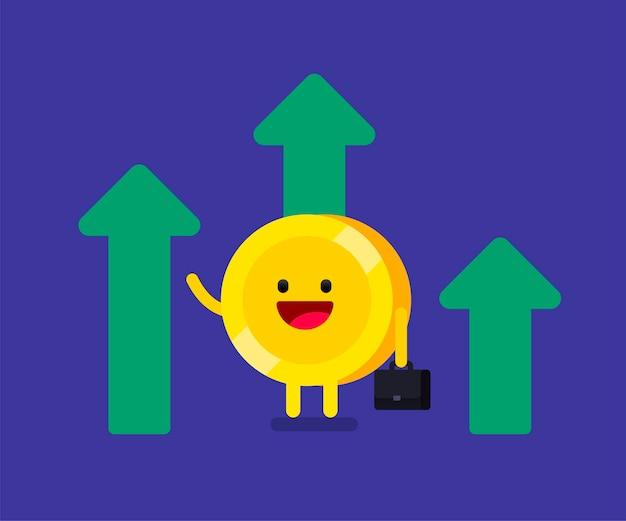 Dinero feliz invirtiendo negocios impulsando el brillo