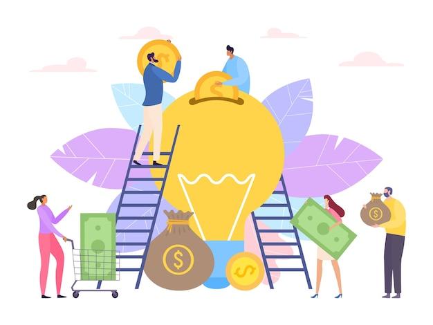 Dinero para la idea, concepto de crowdfunding de bulbo de negocios
