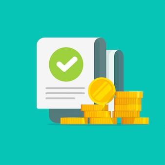 Dinero con ilustración de documento de auditoría de marca de verificación de éxito