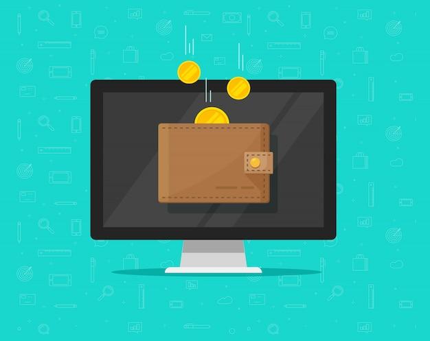 Dinero de los ingresos en línea en caricatura plana monedero electrónico