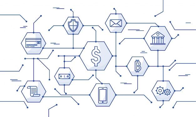 Dinero de internet, transacción de pago segura, mecanismo de pago. fintech (tecnología financiera) de fondo. ilustración plana azul del estilo.