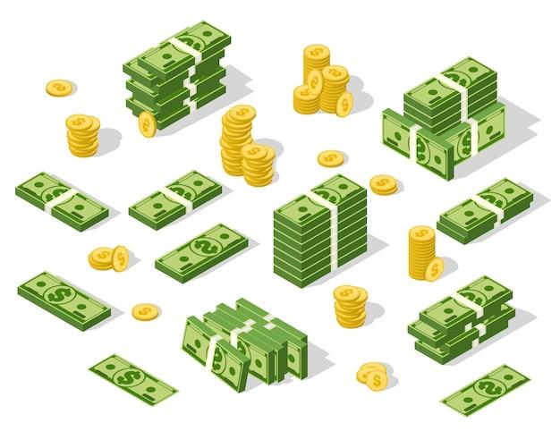 Dinero isométrico aislado. ilustración de monedas de oro y dólares de papel