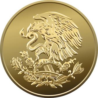 Dinero mexicano cincuenta centavos, moneda de oro, águila heráldica posada sobre un cactus sosteniendo una serpiente en su pico
